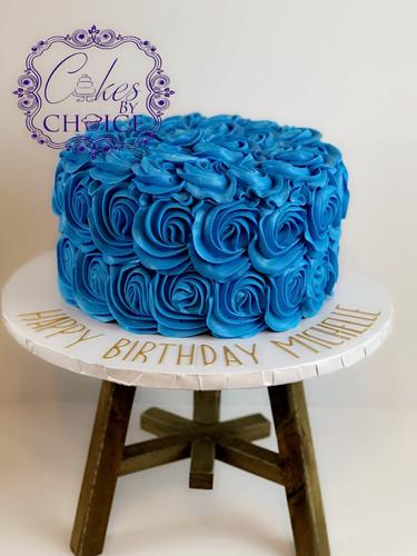 Blue rosette cake