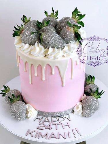 buttercream drip cake with strawberries