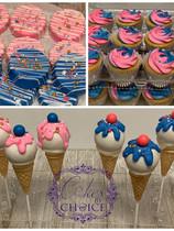 Ice Cream Theme Oreos, Cupcake and Cake pops cones