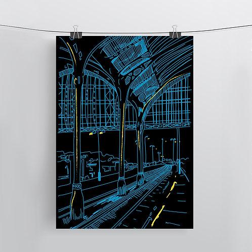 Brighton Station Night, Art Print