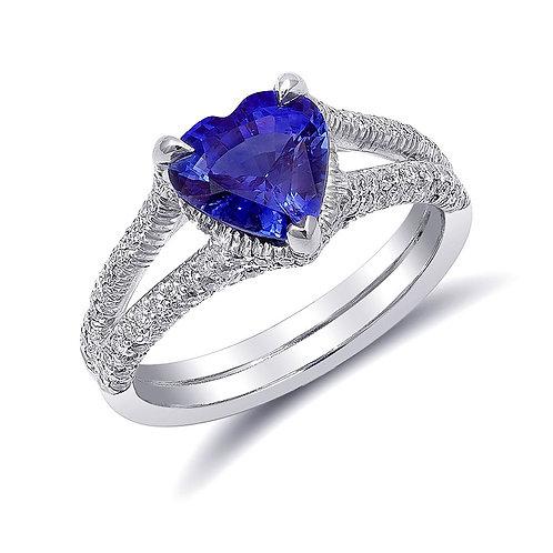 Platinum 2.59 ct TGW Heart-Shaped Blue Sapphire White Diamond Engagement Ring