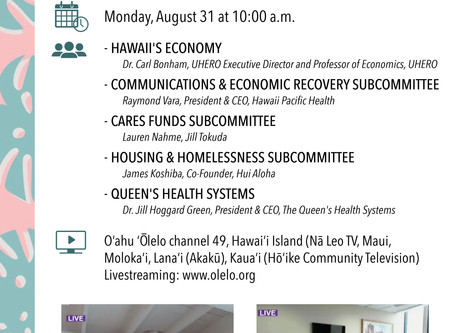 House Select Committee on COVID-19 to Hear Report from Subcommittees, Queen's Health System
