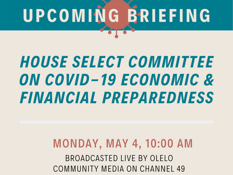 House Select Committee on COVID-19 to hear economic projections, protocols to reopen businesses