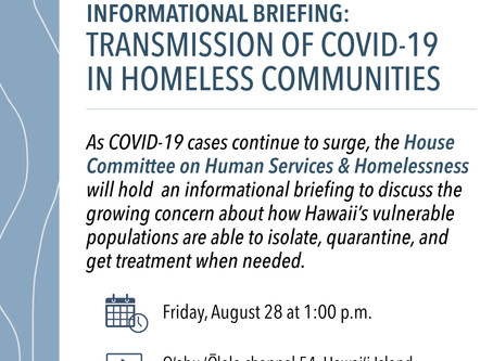 House Committee to Hold Briefing on Growing Need to Treat, Quarantine Homeless COVID Patients