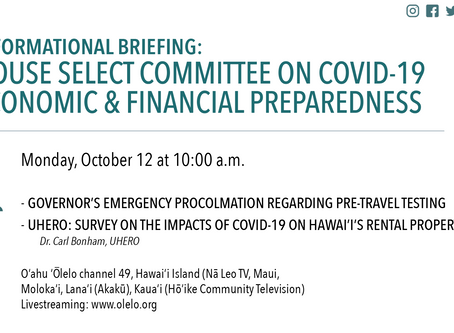 House Select Committee on COVID-19 to Focus on Pre-Travel Testing, Rental Properties Oct. 21