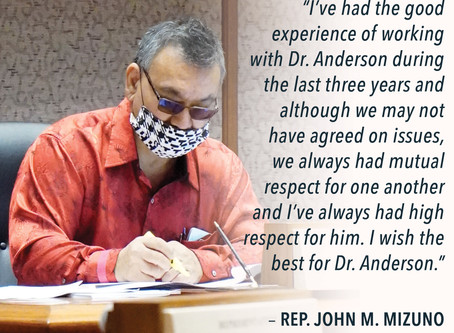 Statement by Health Committee Chair Mizuno on Retirement of DOH Director Anderson