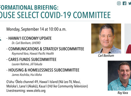 House Select Committee on COVID-19 to Hear Key Subcommittee Reports Sept. 14