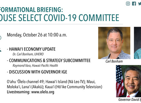 House Select Committee on COVID-19 will Hold Open Discussion with Governor David Ige Oct. 26