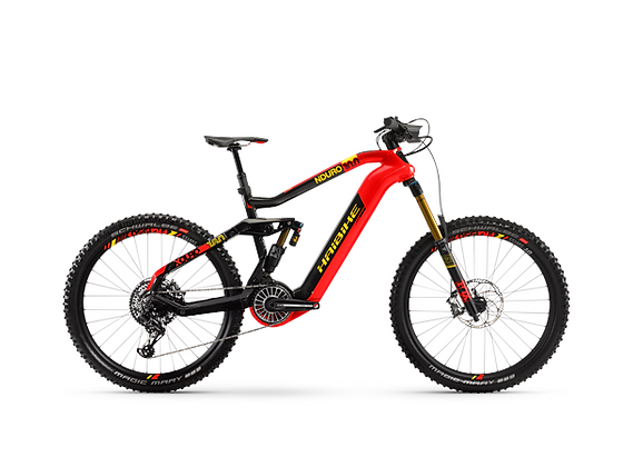 "Haibike Xduro Nduro 10.0 L 27,5"", rød/carbon/gul, Flyon i630Wh"