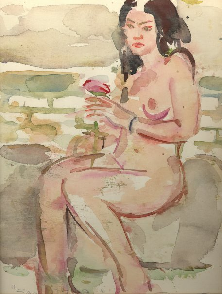 Nude with Rose, water-color