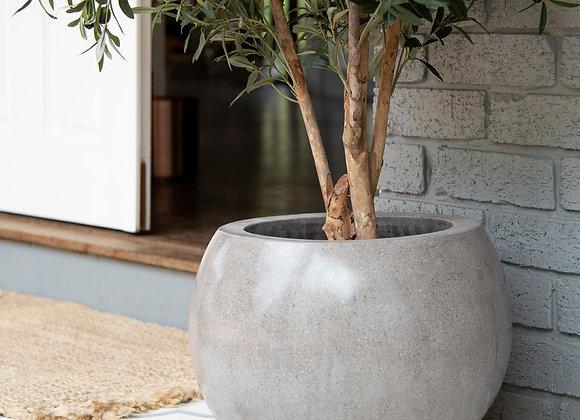 Round Grey Feature Pot