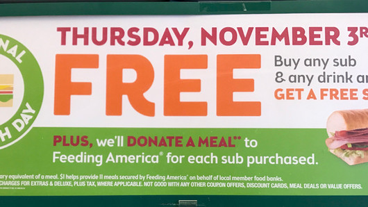 SUBWAY - FREE SUB and FEED AMERICA