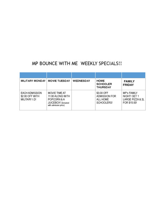 MP Bounce with Me WEEKLY Specials!