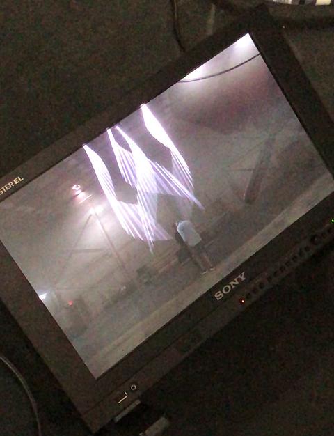 Live laser effect on camera of laser beam floating