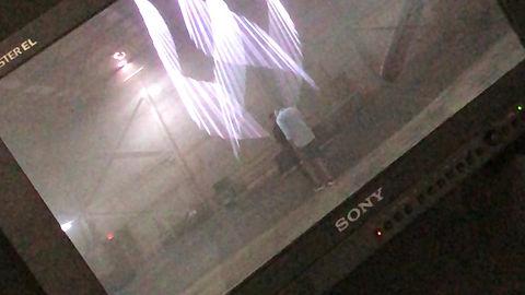 Shot of laser beam floating on camera effect