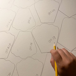 Drawing out the petals on sheets of 22x30 watercolor paper.