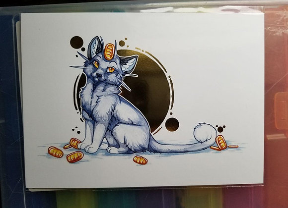 Meowth 5x7 Print with gold foil