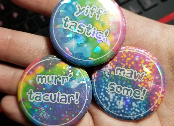 3 Pack Furry Pinback buttons