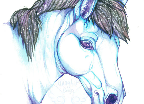 Horse in Blue Watercolor Painting Print