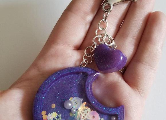 Resin Moon Shaker Charm Keychain Purple