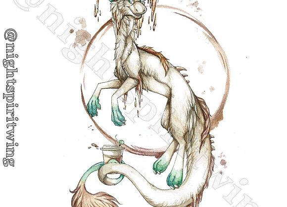 Coffee Dragon Print