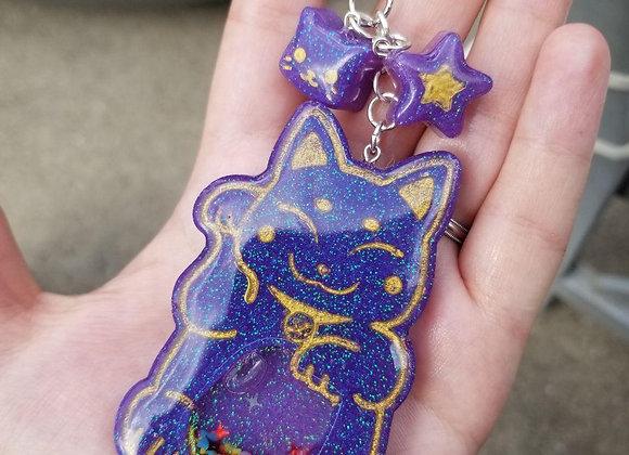Resin Lucky Cat Shaker Charm Keychain