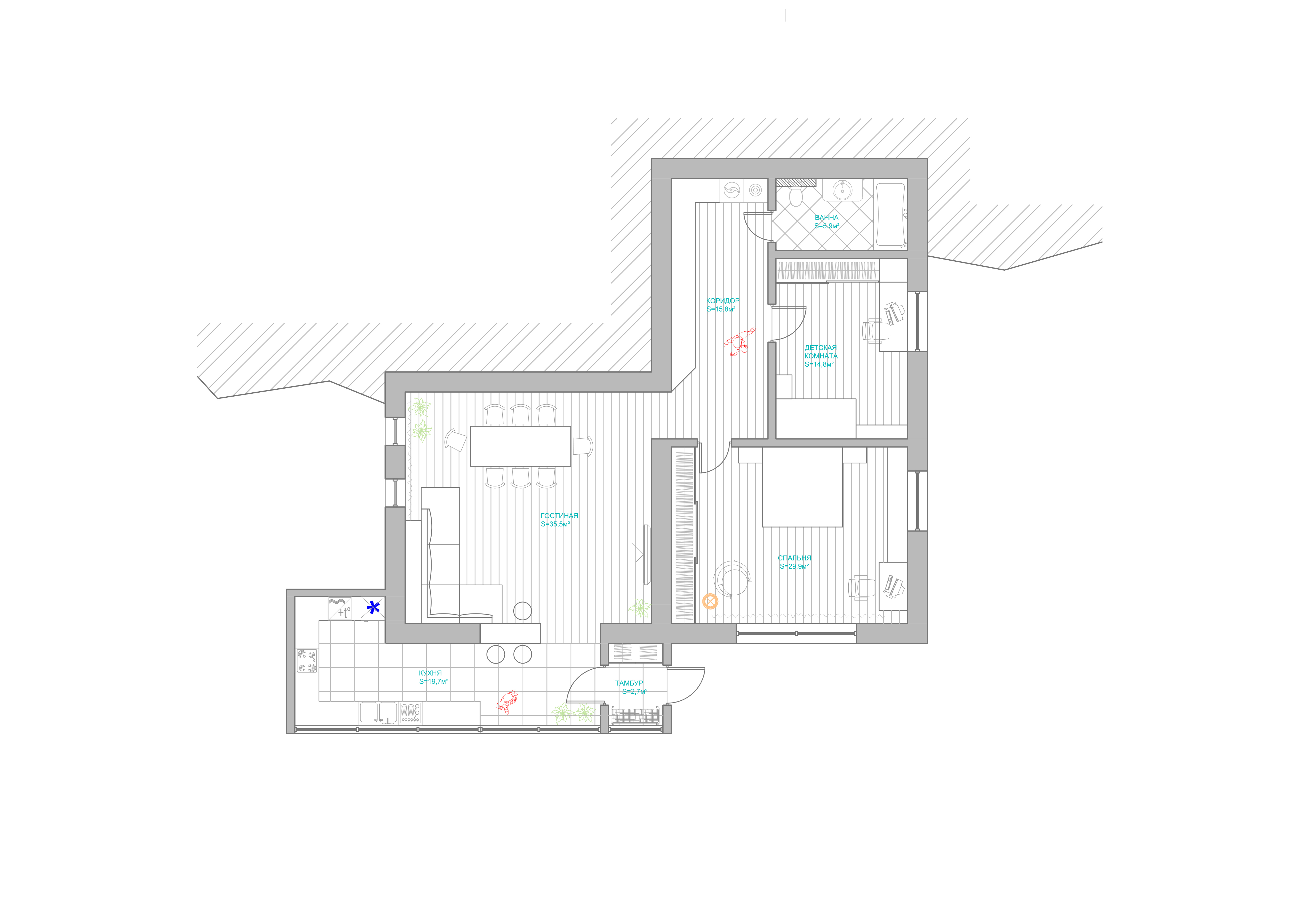 Дизайн-проект квартиры 120м2 для молодой семьи в г.Ереван