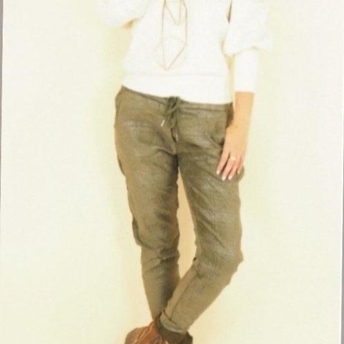 Pantalon effet suédine