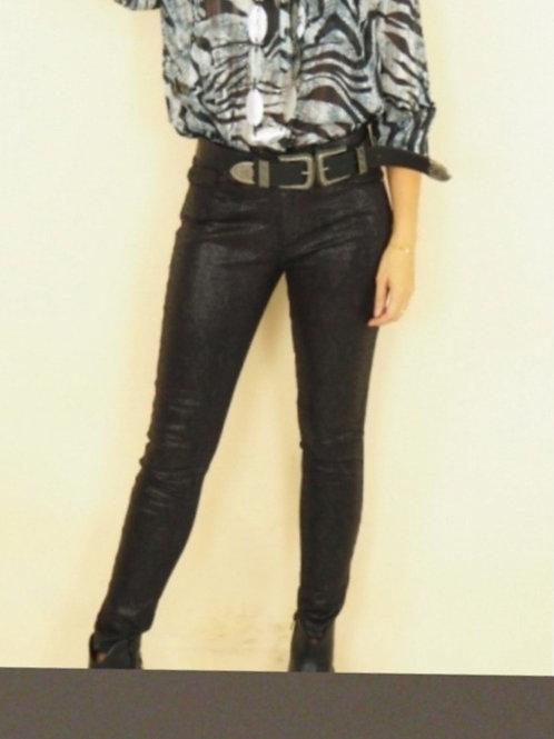 Pantalon effet Python Noir Coupe Slim