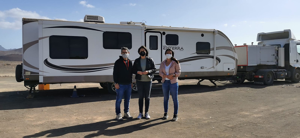 Esther Hernández, Nélida Padilla and Juan Cano   Foundation filming in Tuineje