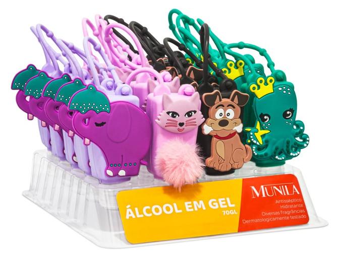 Nova coleção Álcool em gel Munila com capinha de silicone de personagem