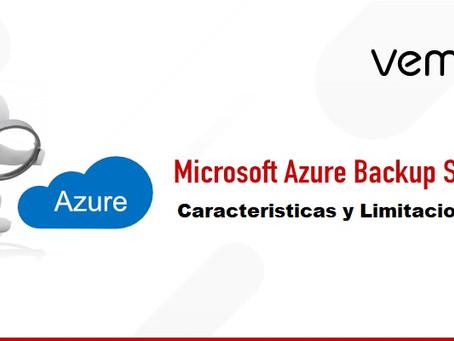 Funciones y limitaciones del servidor de copia de seguridad de Microsoft Azure