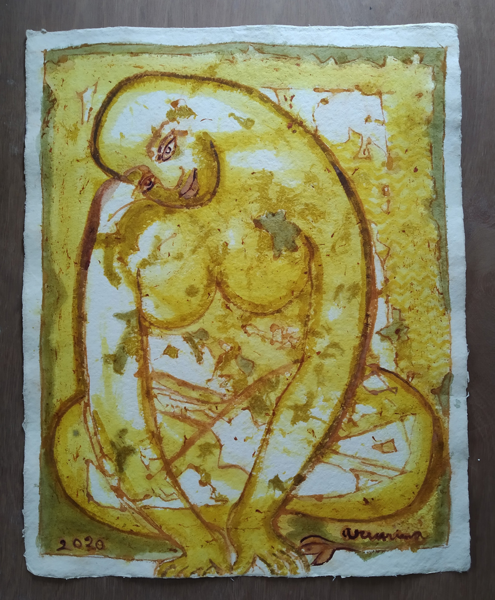 """Vegetable colour on handmade paper, Size : 22"""" X 28"""", 2020"""
