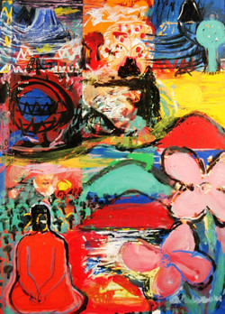 acrylic on printed paper, 12 inches X 8.5 inches, 2001