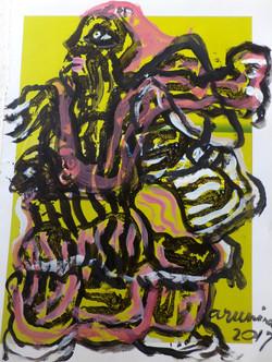Acrylic-on-printed-paper,-28cm-X-21cm,-2017