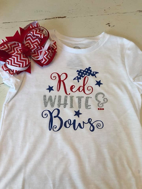 Red White & Bows youth vinyl tee