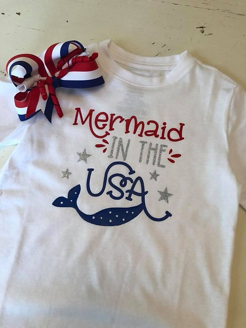 Mermaid in the USA vinyl child tee