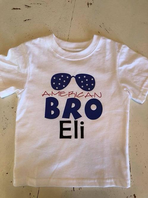 "Child American Bro ""name"" vinyl shirt"