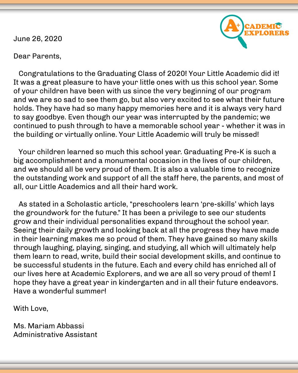 2020 Pre-K Graduation Program Patricia (