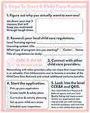 Worksheet - 5 Steps To Start A Day Care