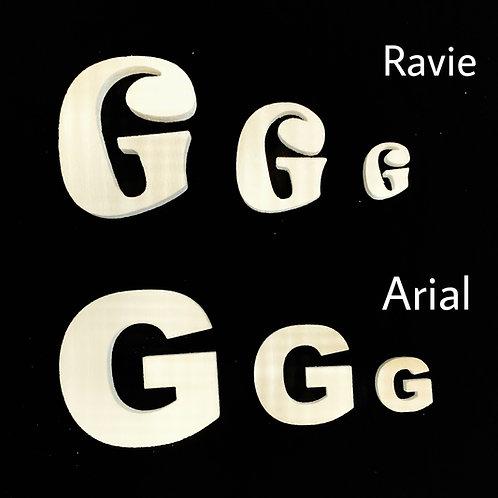 Letra G Tipografia ARIAL o RAVIE
