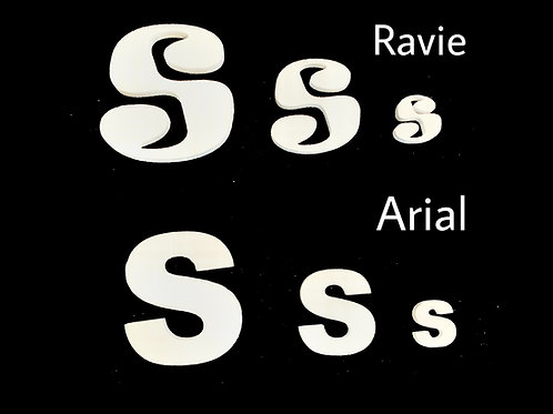 Letra S Tipografia ARIAL o RAVIE