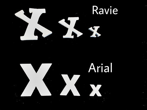 Letra X Tipografia ARIAL o RAVIE
