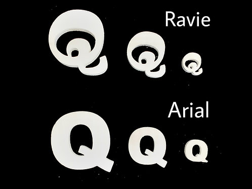 Letra Q Tipografia ARIAL o RAVIE