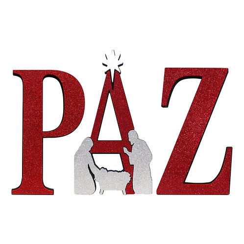 Palabra PAZ con Nacimiento (Rojo)