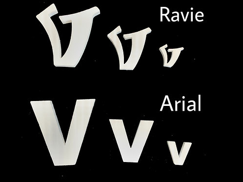 Letra V Tipografia ARIAL o RAVIE