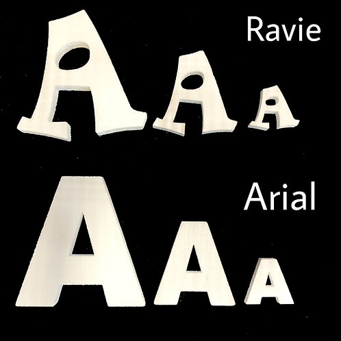 Letra A Tipografia ARIAL o RAVIE