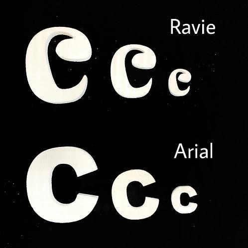 Letra C Tipografia ARIAL o RAVIE