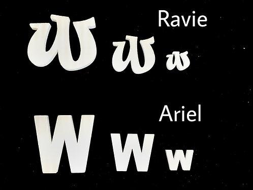 Letra W Tipografia ARIAL o RAVIE