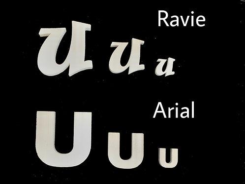 Letra U Tipografia ARIAL o RAVIE